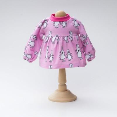 Puppenkleid-Langarm-Hase-rosa-fuer-Waldorfpuppe