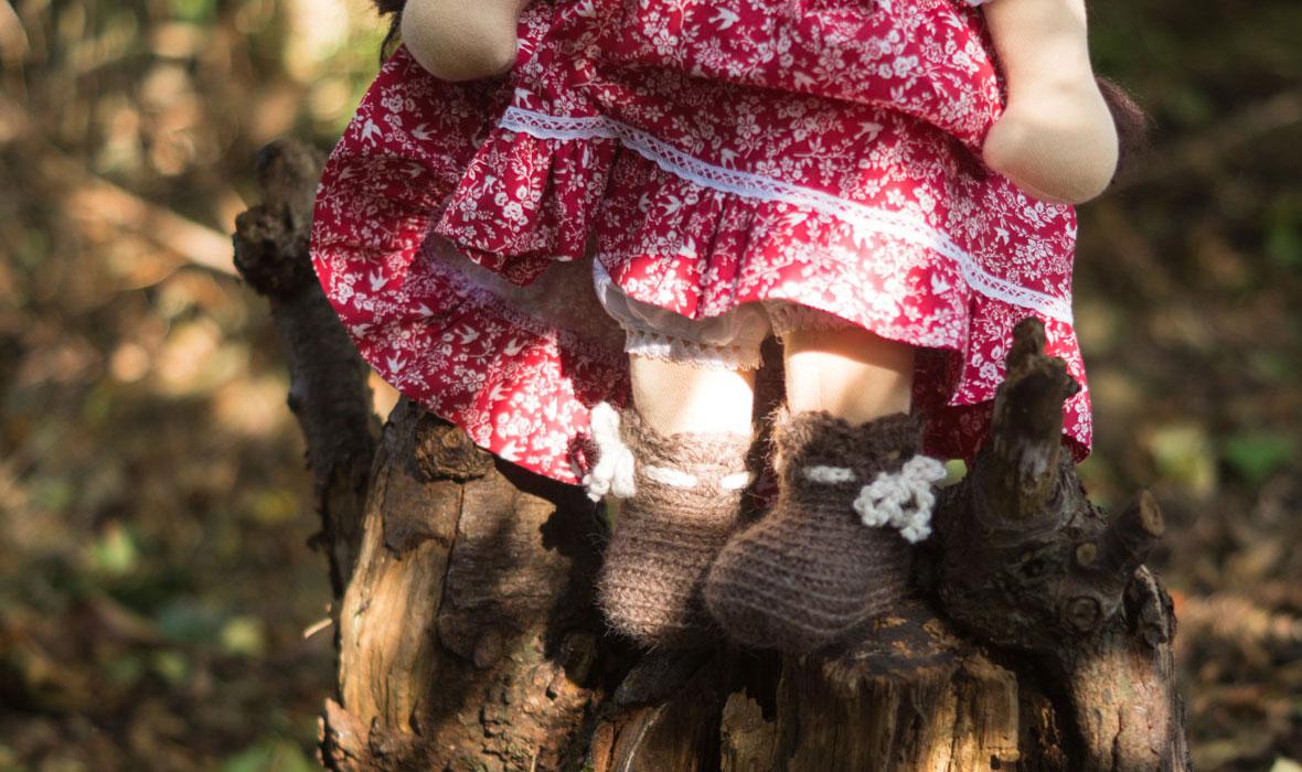 gehaekelte Puppenschuhe mit Schleifchen für Puppen ab 3 Jahre