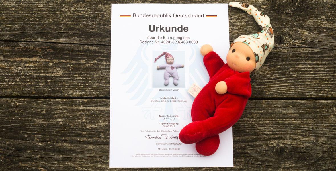 Designurkunde für Ellis Kuschelpuppen Kuschelherz