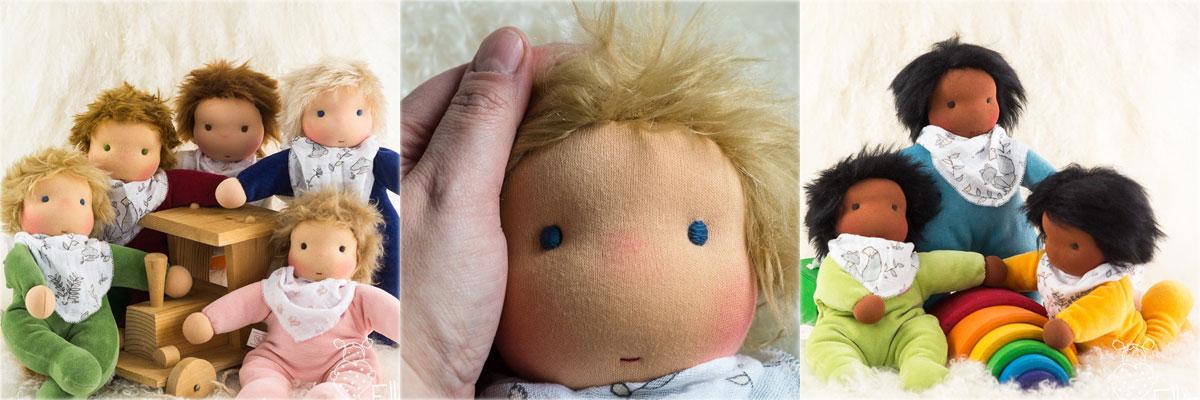 weiche Stoff Puppen für Kleinkinder aus buntem Nicki nach Waldorfart
